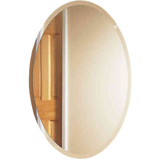 Zenith Frameless Beveled 21 In. W x 31 In. H x 4 In. D Single Mirror Surface Mount Oval Medicine Cabinet