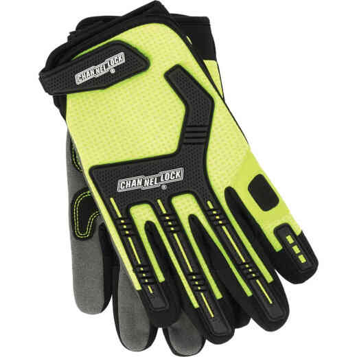 Channellock Men's XL Synthetic Leather Heavy-Duty Mechanics Glove, Hi-Visibility Yellow